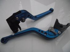 Honda CBR600F levers (2011-14), CNC long blue alloy & chrome adjusters, F18/H607